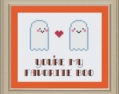 You're my favorite boo: cute Halloween cross-stitch pattern