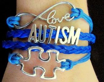 Autism Puzzle Infinity Bracelet.  Autism Awareness blue bracelet.  Light it up blue bracelet.  Asbergers bracelet