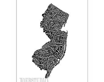 New Jersey Typography Map Art Print - signed print from my original hand drawn state map typography series - featuring cities & towns