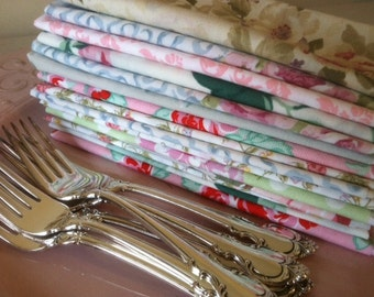 Tea Party - Shabby Chic Cloth Napkins, 8 inch, 10 inch, 12 inch, 15 inch or 17 inch, SET of 12, by CHOW with ME