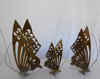Brass Butterfly Trio Home Decor 1980s