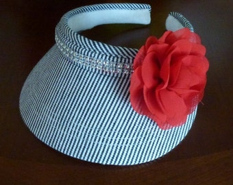 Glitzy Black  and white Stripe Sun Visor with Rhinestone trim and Large Red Flower