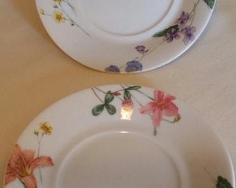 "Set of 2 Mikasa 6"" Saucer Curved Plate Lilliette /  Floral Splendor"