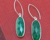 Raw Emerald Oval Earrings in Sterling Silver