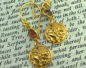 Magnificent Arching Golden Lion and garnet Earrings