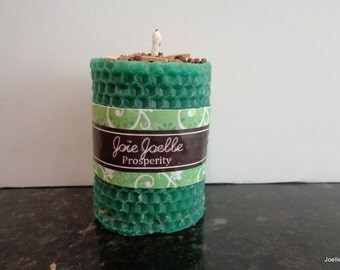 Prosperity Green Pillar  Spell  Candle Dressed with Herbs, for good luck, good fortune, abundance, wealth