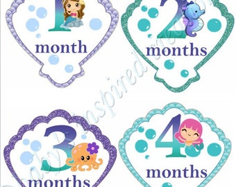 Mermaid Baby Monthly Stickers