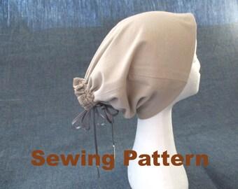 slouchy jersey beanie tube ponytail hat sewing pattern, dreads hat pattern, dreadlock hat beanie pattern, headband wrap pattern, geek hat