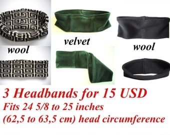 clearance sale, set of 3 winter ear warmer headbands for men, fit 24 5/8 to 25 inches (62,5 - 63,5cm) head circumference