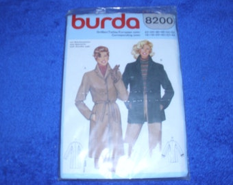 NOS BURDA 8200 European Coat Pattern 42 - 52 16 - 44 size Still sealed in Plastic!