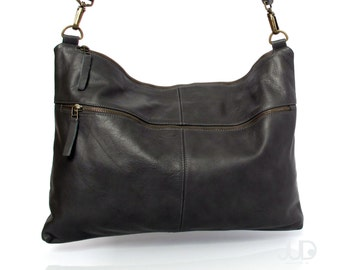 Black leather messenger bag soft leather purse SALE