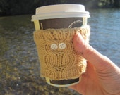Mustard Yellow Owl Cup Cozy: Reuseable, Hand Knit Sleeve for Coffee, Tea, Hot Beverages