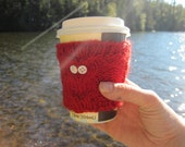 Red Owl Cup Cozy, Reuseable Hand Knit Sleeve for Coffee, Tea