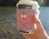 Pink Owl Cup Cozy with Lavender Stripe, Reuseable Hand Knit Sleeve for Coffee, Tea