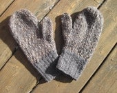Men's Wool Mittens, Double Knit Gray and Variegated Gray Diagonal Stripe Pattern Mitten Woodland colors