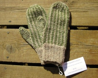 Wool Woodland Colored Mittens, Double Knit Beige and Moss Green Vertical Stripe Pattern Mitten for Women or Men