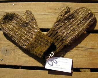 Wool Woodland Colored Mittens, Double Knit Beige and Variegated Gray Vertical Stripe Pattern Mitten for Women or Men