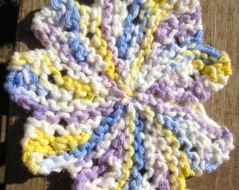Hand Knit Cotton Washcloth, Flower Shaped Scrubby Mini Size White Yellow and Purple