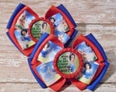 Going to Disney to See Snow White Inspired Glitter Bottlecap Matching Ribbon Piggie Bows