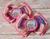 Going to Disney to See Princess Aurora Inspired Glitter Bottlecap Matching Ribbon Piggie Bows