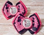 Going to Disney to See Minnie Mouse Inspired Glitter Bottlecap Matching Ribbon Piggie Bows