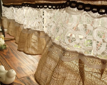 "75"" French vintage lace -Shabby Chic Rustic BURLAP RUFFLED Valance Curtain White"
