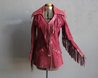 Amazing Red Suede Fringe Rocker Jacket. Size Small.