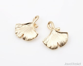 Ginkgo Leaves Pendatns in Matte Gold / 14mm x 16.3mm / BMG215-P (2pcs)
