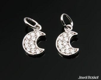 Cubic Crescent Beads in Rhodium / 10.0mm x 6.5mm / CRH050-P (2pcs)