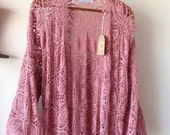 "Womens Crochet ""Rosey Days"" Kimono with Tassels.Free size"