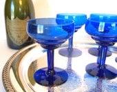 Vintage Cobalt Blue Glass Champagne Coupe Glasses Coupes Saucers Set of 6 | Bar Glasses Barware | Wedding Housewarming Gift