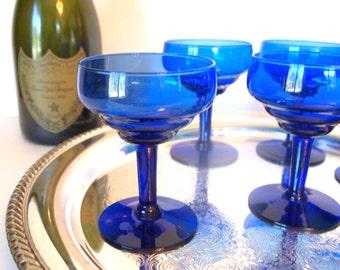 Vintage Champagne Coupe Glasses Saucers | Cobalt Blue Glass Coupes Set of 6 | Bar Glasses Barware | Wedding Housewarming Gift