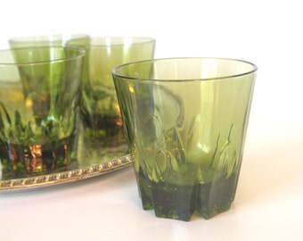Vintage Cocktail Glasses Rocks Old Fashioned Glasses - Set of 6 Avocado Green 1970's  | 8 Oz. Bar Glasses 1970's | Housewarming Gift