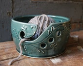 Yarn Bowl, Crochet, Knitting, Teal Green, MADE TO ORDER