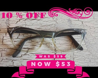 Vintage cats eye glasses with rhinestones/ gray and clear frames