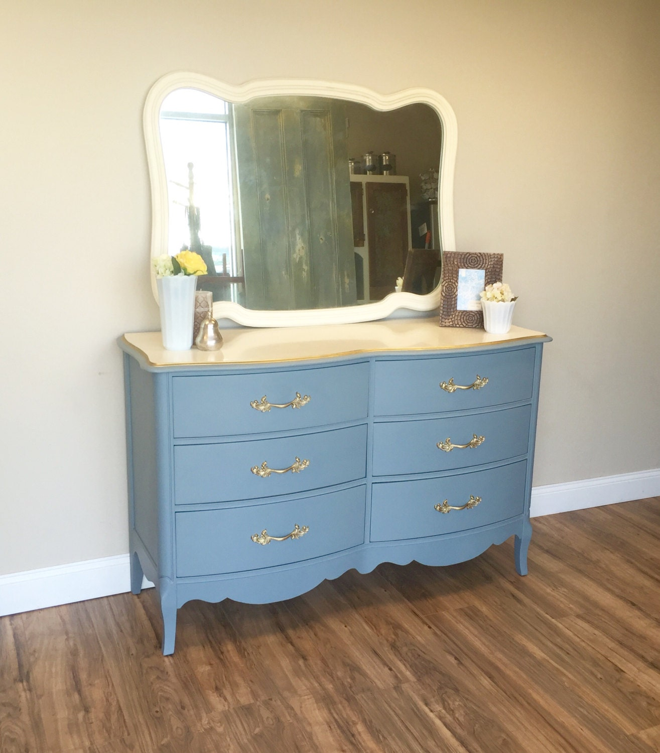 French provincial dresser light blue unique