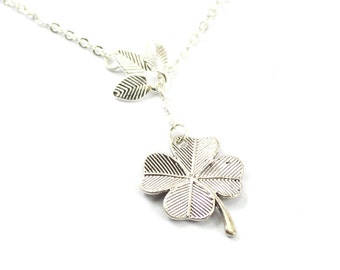 Clover Leaf charm silver lariat necklace