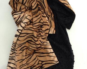 Minky Baby Blanket ,Tiger Animal Print Blanket,Safari Blanket, Crib Blanket, Minky Boy Blanket, Minky Girl  Blanket ,Crib Size 36 x 45