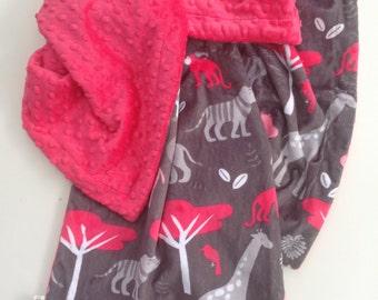 Minky Baby Blanket, Jungle Blanket, Animal Print ,Elephant Blanket,Baby Girl Blanket, Car Seat or Stroller Blanket, Infant Bedding 29 x 36