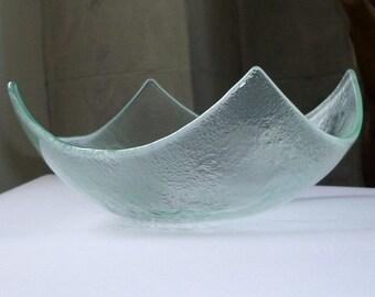 Abstract Modern Fused Glass Salad Bowl. Clear Glass Bowl. Minimalist Glass Dinnerware. Glass Tableware. Geometric Glass Bowl. Fruitbowl M