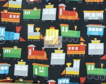 "100% Cotton Fabric By Wilmington Prints  - On The Go! Trains On The Move - 45"" Width Sold By The Yard (FH-2006)"