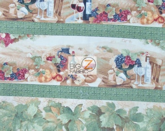 """100% Cotton Fabric By Wilmington Prints  - Vino Bellisimo Picnic Outside - 45"""" Width Sold By The Yard (FH-2010)"""