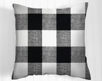 Black Check   Pillow Cover. All sizes  Decorative Throw Pillows .Black/White. Decorative Pillow Fabric front and back Lodge Style