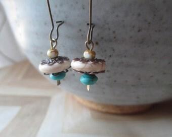 Turquoise Earrings  Summer White Turquoise Earrings Southwest Earrings Brass Earrings Small Earrings Long Dangle Earrings
