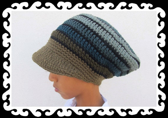 Dread Tam  olivetree  with brim lined Size S