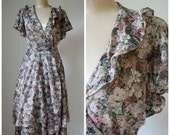 Sale Disco Dress / Vintage Wrap Dress / 1970's Dress / Vintage Dress / Twirl Dress / Flutter Dress S
