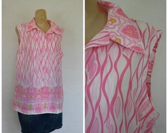 Sale Summer Blouse / Vintage Blouse / 1970's Blouse / Bohemian Blouse  / Pink Asian Blouse  L/XL