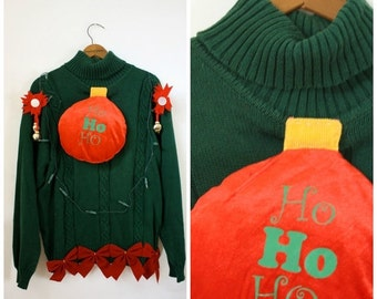 Sale Ugly Christmas Sweater / Vintage Sweater / DIY Christmas Sweater / Christmas Ornaments N Jingle Bells Sweater / Light Up Sweater M/L/Xl