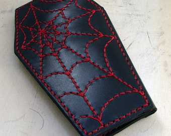 Cow leather wallet style biker coffin red spider web