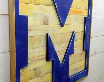 "University of Michigan X-Large Bold Letter ""M"" Reverse Shadow Box Initial - Football Wolverines Ann Arbor Basketball"
